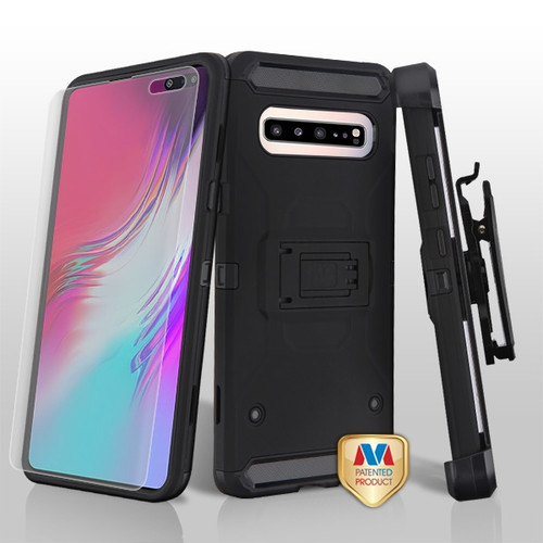 MyBat 3-in-1 Kinetic Hybrid Protector Cover Combo (with Black Holster)(with Full-coverage Screen Protector) for Samsung Galaxy S10 5G - Black / Black