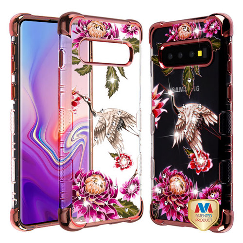 MyBat Diamante TUFF Klarity Lux Candy Skin Cover for Samsung Galaxy S10 - Rose Gold Plating / Crane