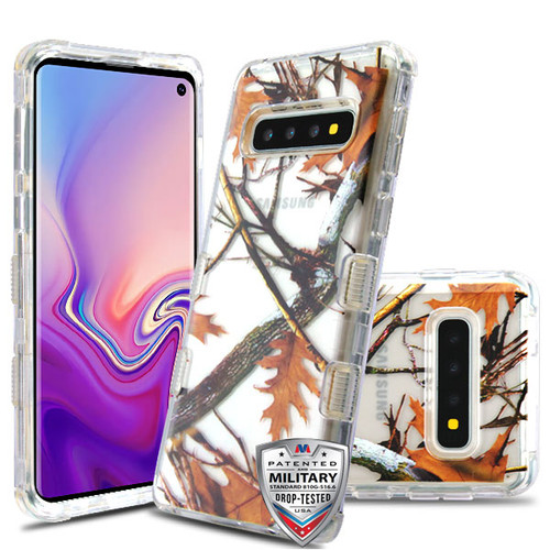 MyBat TUFF Lucid Hybrid Protector Cover [Military-Grade Certified] for Samsung Galaxy S10 - Transparent Clear / Oak