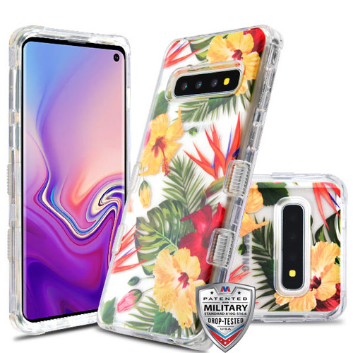 MyBat TUFF Lucid Hybrid Protector Cover [Military-Grade Certified] for Samsung Galaxy S10 - Transparent Clear / Hibiscus