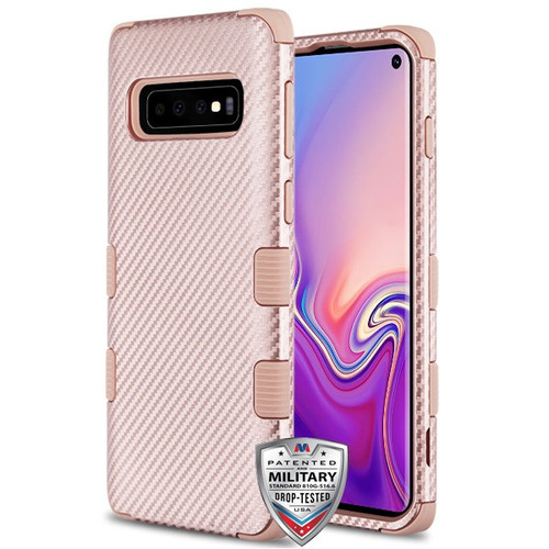 MyBat TUFF Fuse Hybrid Protector Cover for Samsung Galaxy S10 - Rose Gold Carbon Fiber Texture / Rose Gold