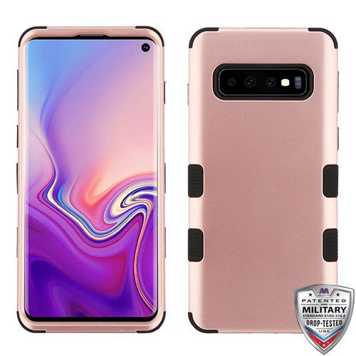 MyBat TUFF Hybrid Protector Cover [Military-Grade Certified] for Samsung Galaxy S10 - Rose Gold / Black