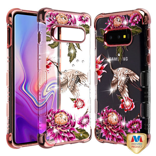 MyBat Diamante TUFF Klarity Lux Candy Skin Cover for Samsung Galaxy S10E - Rose Gold Plating / Crane