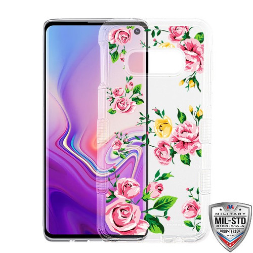 MyBat TUFF Lucid Hybrid Protector Cover [Military-Grade Certified] for Samsung Galaxy S10E - Transparent Clear / Pink Roses