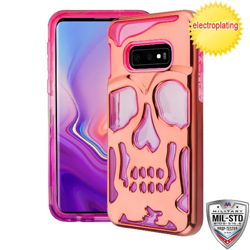 MyBat SKULLCAP Lucid Hybrid Protector Cover [Military-Grade Certified] for Samsung Galaxy S10E - Rose Gold Plating / Hot Pink / Purple