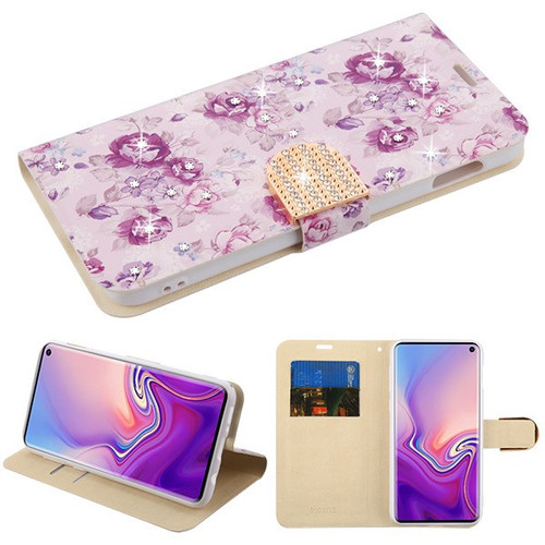 MyBat MyJacket Wallet Diamond Series for Samsung Galaxy S10E - Fresh Purple Flowers