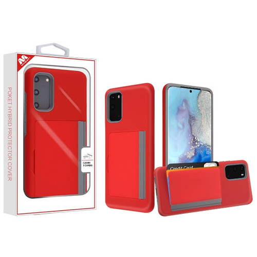 MyBat Poket Hybrid Protector Cover (with Back Film) for Samsung Galaxy S20 (6.2) - Red / Gray
