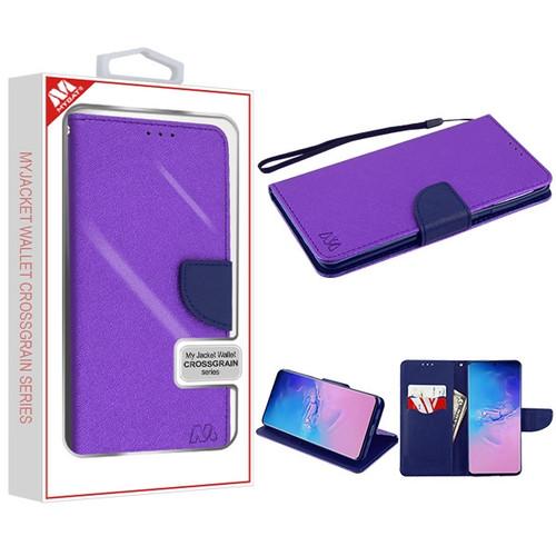 MyBat Liner MyJacket Wallet Crossgrain Series for Samsung Galaxy S20 Ultra (6.9) - Purple Pattern / Dark Blue