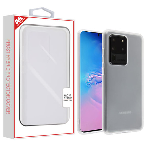 MyBat Frost Hybrid Protector Cover for Samsung Galaxy S20 Ultra (6.9) - Semi Transparent White Frosted / Rubberized Semi Transparent White