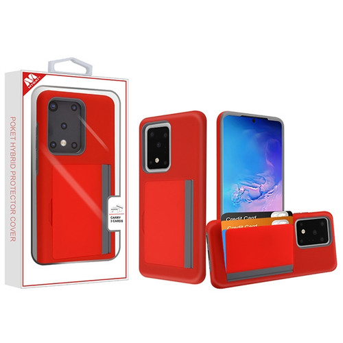 MyBat Poket Hybrid Protector Cover (with Back Film) for Samsung Galaxy S20 Ultra (6.9) - Red / Gray