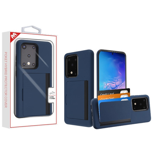 MyBat Poket Hybrid Protector Cover (with Back Film) for Samsung Galaxy S20 Ultra (6.9) - Ink Blue / Black