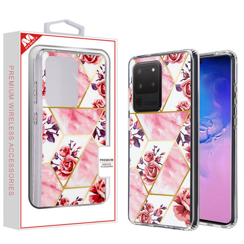 MyBat Fusion Protector Cover for Samsung Galaxy S20 Ultra (6.9) - Electroplated Roses Marbling