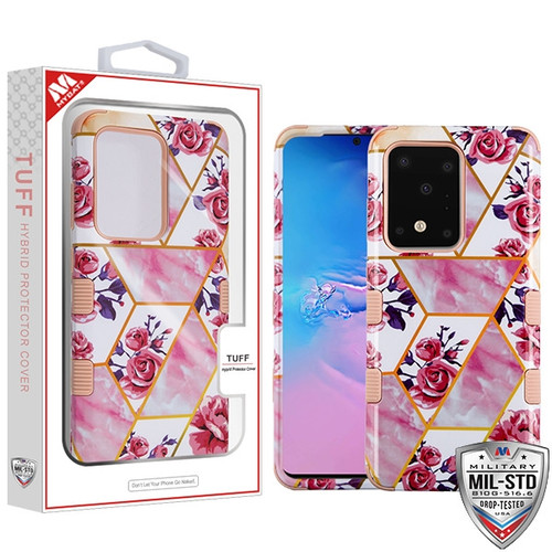 MyBat TUFF Hybrid Protector Cover [Military-Grade Certified] for Samsung Galaxy S20 Ultra (6.9) - Roses Marble / Rose Gold