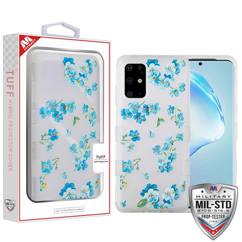 MyBat TUFF Hybrid Protector Cover [Military-Grade Certified] for Samsung Galaxy S20 PLUS (6.7) - Semi Transparent White Frosted Aqua Myositis / Transparent White