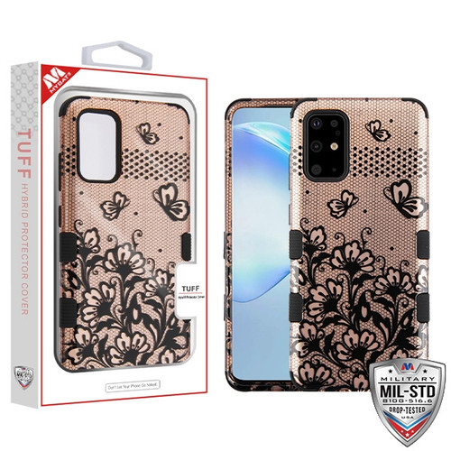 MyBat TUFF Hybrid Protector Cover [Military-Grade Certified] for Samsung Galaxy S20 PLUS (6.7) - Black Lace Flowers (2D Rose Gold) / Black