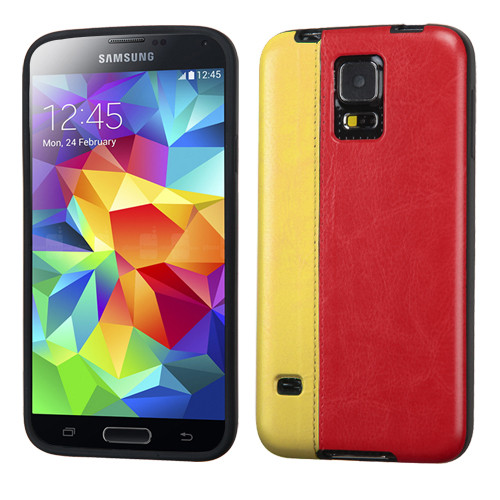 MyBat Embossed Leather Backing Candy Skin Cover for Samsung Galaxy S5 - Yellow / Red
