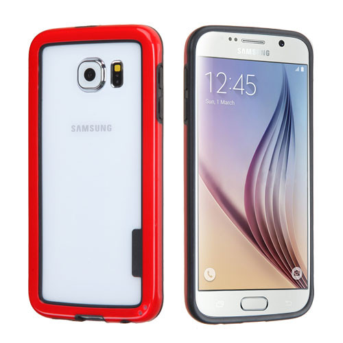 MyBat MyBumper Protector Cover for Samsung G920 (Galaxy S6) - Black / Solid Red