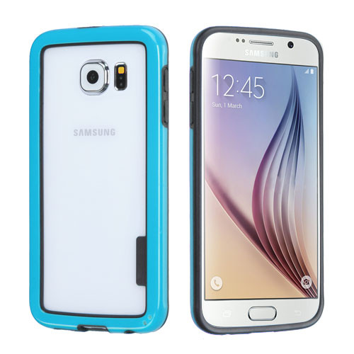 MyBat MyBumper Protector Cover for Samsung G920 (Galaxy S6) - Black / Solid Blue