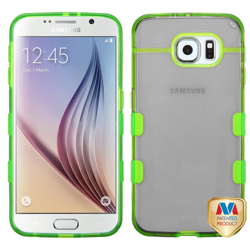 MyBat Gummy Cover for Samsung G920 (Galaxy S6) - Transparent Baby Black / Transparent Electric Green