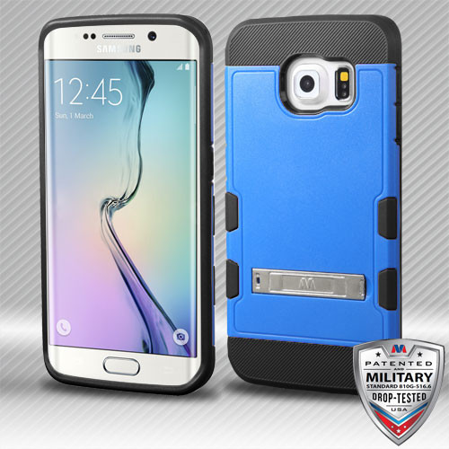 MyBat TUFF Trooper Hybrid Protector Cover [Military-Grade Certified] (with Stand) for Samsung G925 (Galaxy S6 Edge) - Natural Dark Blue / Black
