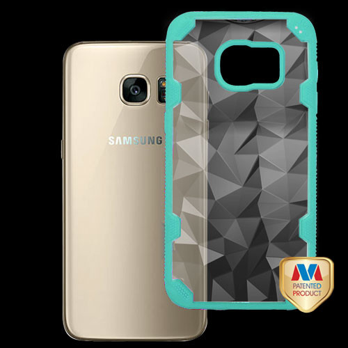 MyBat Challenger Hybrid Protector Cover for Samsung G930 (Galaxy S7) - Transparent Clear Polygon / Turquoise