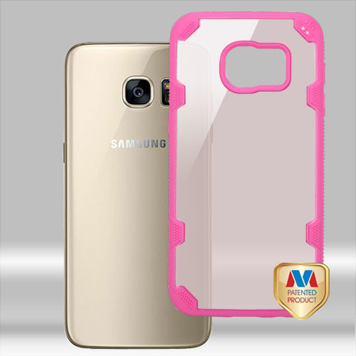 MyBat FreeStyle Challenger Hybrid Protector Cover for Samsung G930 (Galaxy S7) - Transparent Rose Gold / Hot Pink
