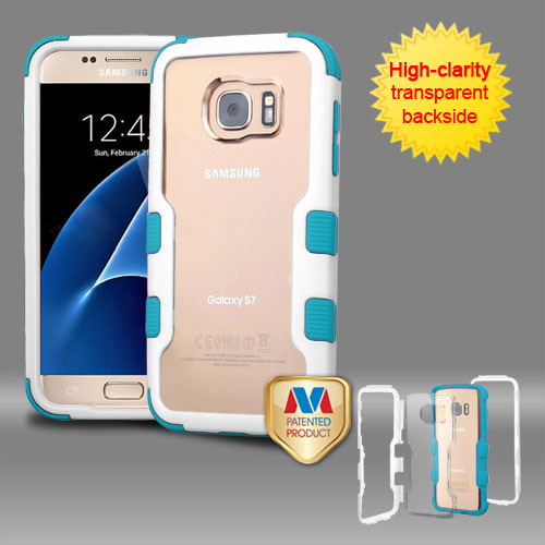 MyBat TUFF Vivid Hybrid Protector Cover for Samsung G930 (Galaxy S7) - Natural Ivory White Frame+Transparent PC Back / Tropical Teal