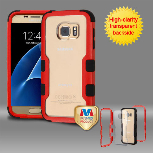 MyBat TUFF Vivid Hybrid Protector Cover for Samsung G930 (Galaxy S7) - Natural Red Frame+Transparent PC Back / Black