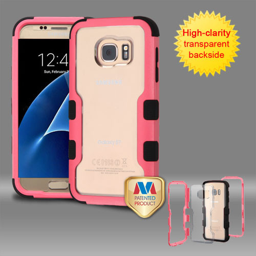 MyBat TUFF Vivid Hybrid Protector Cover for Samsung G930 (Galaxy S7) - Natural Pink Frame+Transparent PC Back / Black