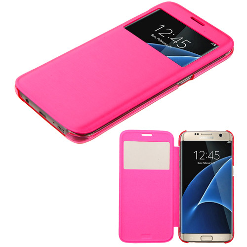MyBat Silk Texture MyJacket (with Transparent Frosted Tray) for Samsung G935 (Galaxy S7 Edge) - Hot Pink