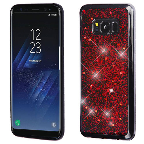 MyBat Krystal Gel Series Candy Skin Cover for Samsung Galaxy S8 - Red Starry Sky (Black)