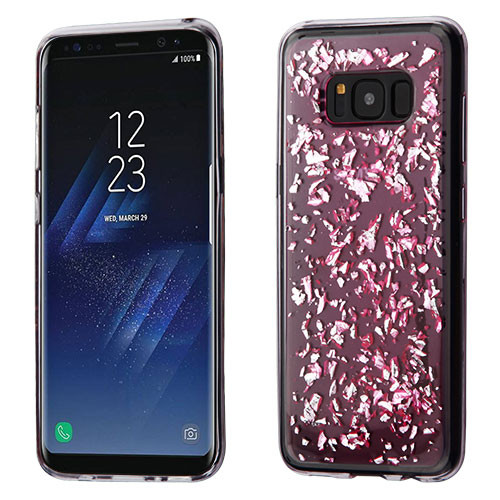 MyBat Krystal Gel Series Candy Skin Cover for Samsung Galaxy S8 - Silver Flakes (T-Pink)