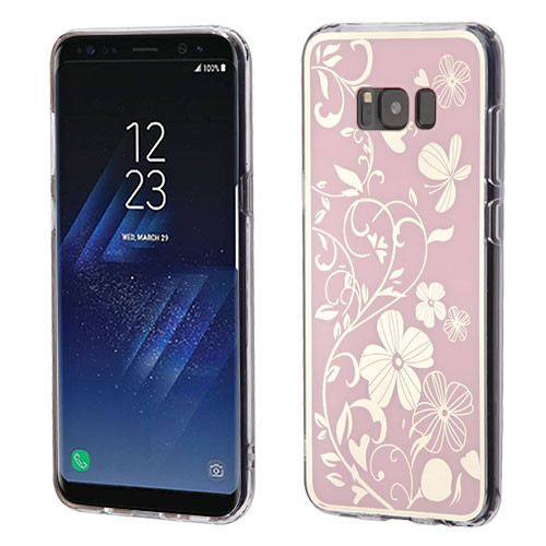 MyBat Gummy Cover for Samsung Galaxy S8 - Phoenix-tail Flowers Electroplating (Pink) / Transparent Clear