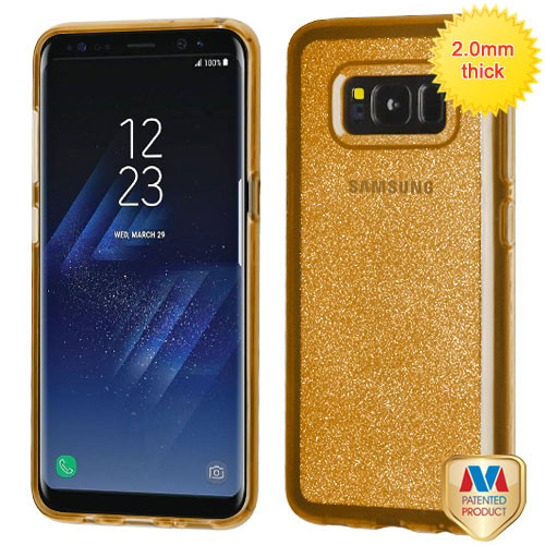 MyBat Sheer Glitter Premium Candy Skin Cover for Samsung Galaxy S8 - Transparent Gold