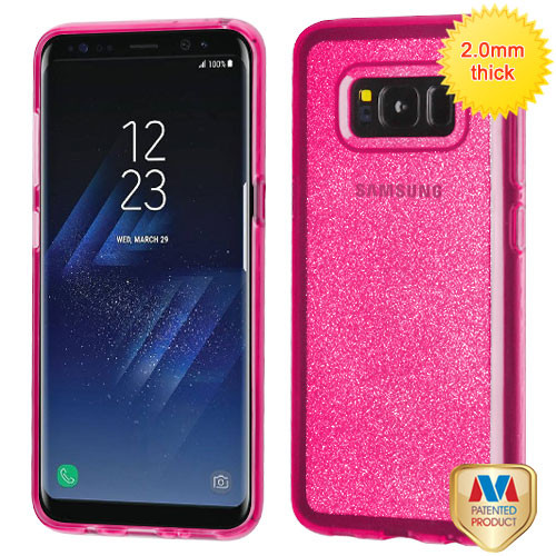 MyBat Sheer Glitter Premium Candy Skin Cover for Samsung Galaxy S8 - Transparent Hot Pink