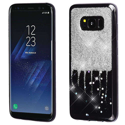 MyBat Krystal Gel Series Candy Skin Cover for Samsung Galaxy S8 Plus - Silver Glittering & Silver Stars (Black)