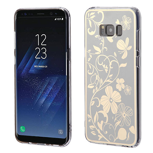 MyBat Gummy Cover for Samsung Galaxy S8 Plus - Phoenix-tail Flowers Electroplating (Silver) / Transparent Clear