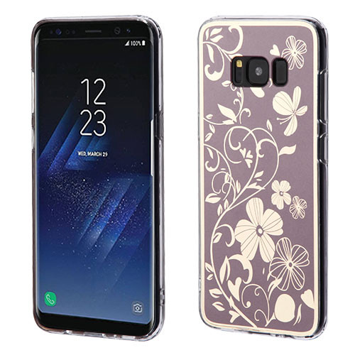 MyBat Gummy Cover for Samsung Galaxy S8 Plus - Phoenix-tail Flowers Electroplating (Brown) / Transparent Clear
