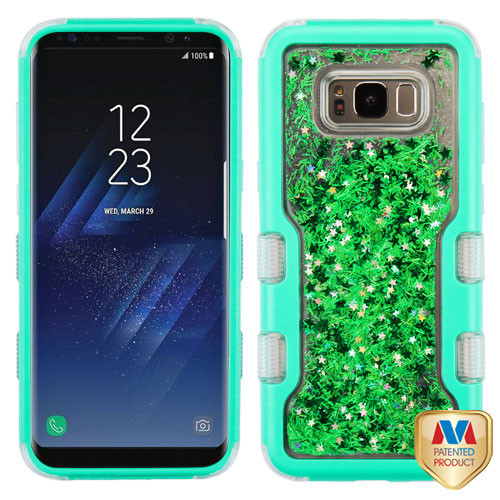 MyBat TUFF Quicksand Glitter Hybrid Protector Cover for Samsung Galaxy S8 Plus - Natural Teal Green / Green Meteor Shower