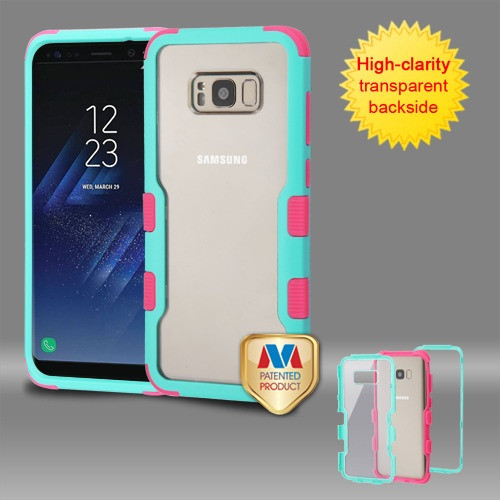 MyBat TUFF Vivid Hybrid Protector Cover for Samsung Galaxy S8 Plus - Natural Teal Green Frame+Transparent PC Back / Electric Pink