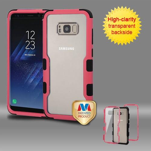 MyBat TUFF Vivid Hybrid Protector Cover for Samsung Galaxy S8 Plus - Natural Pink Frame+Transparent PC Back / Black
