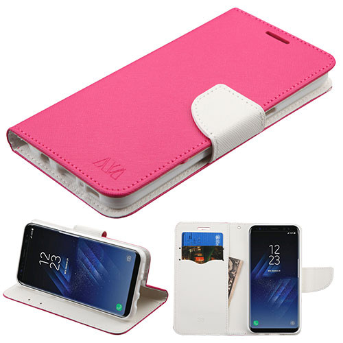 MyBat Liner MyJacket Wallet Crossgrain Series for Samsung Galaxy S8 Plus - Hot Pink Pattern / White