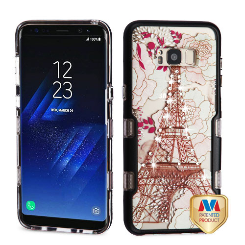 MyBat TUFF Panoview Hybrid Protector Cover for Samsung Galaxy S8 Plus - Metallic Black / Eiffel Tower Diamante