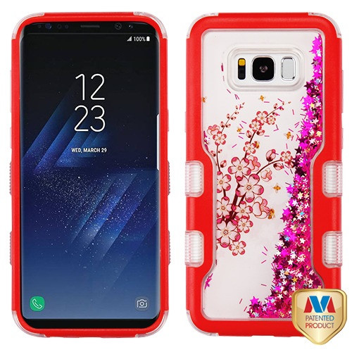 MyBat TUFF Quicksand Glitter Hybrid Protector Cover for Samsung Galaxy S8 Plus - Natural Red / Spring Flowers & Hot Pink Meteor Shower