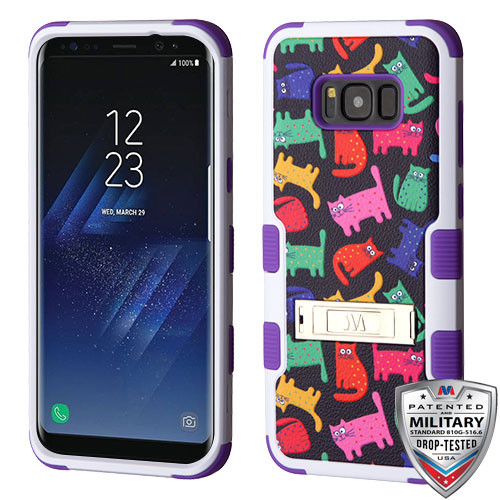 MyBat TUFF Hybrid Protector Cover (with Stand)[Military-Grade Certified] for Samsung Galaxy S8 Plus - Colored Kittens / Purple