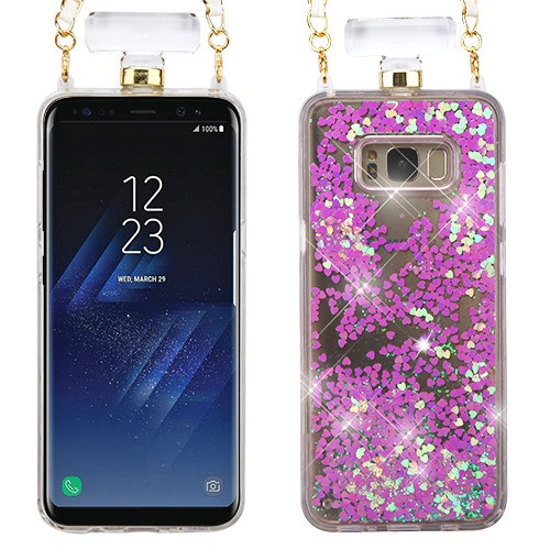 MyBat Quicksand Glitter Diamante Perfume Bottle Protector Cover(with Chain) for Samsung Galaxy S8 Plus - Light Purple