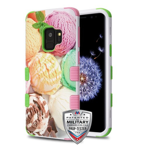 MyBat TUFF Hybrid Protector Cover [Military-Grade Certified] for Samsung Galaxy S9 - Ice Cream Scoops / Electric Green & Soft Pink