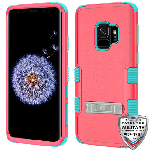 MyBat TUFF Hybrid Protector Cover (with Stand)[Military-Grade Certified] for Samsung Galaxy S9 - Natural Baby Red / Tropical Teal