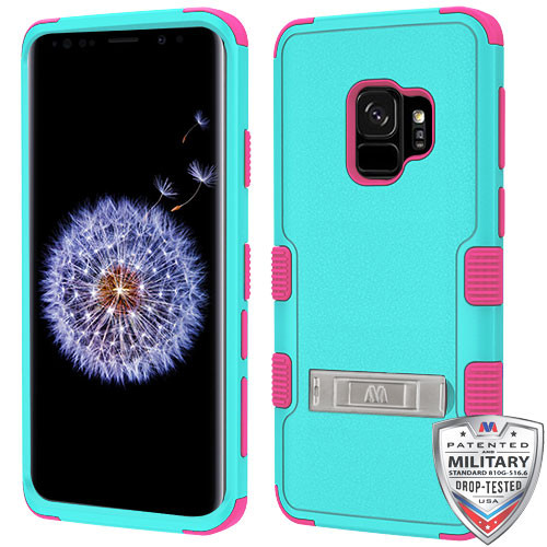 MyBat TUFF Hybrid Protector Cover (with Stand)[Military-Grade Certified] for Samsung Galaxy S9 - Natural Teal Green / Electric Pink