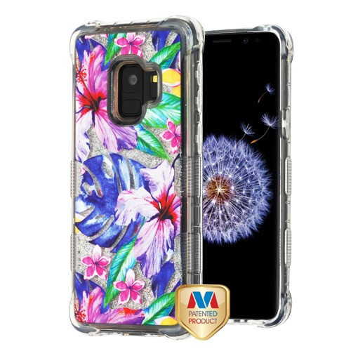 MyBat TUFF Quicksand Glitter Lite Hybrid Protector Cover for Samsung Galaxy S9 - Watercolor Hibiscus / Silver